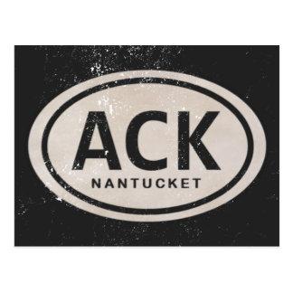 Postal de la etiqueta de la playa del ACK Nantucke