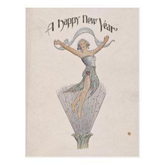 Postal de la Feliz Año Nuevo del vintage