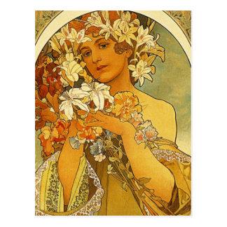 Postal de la flor de Nouveau Alfonso Mucha del art