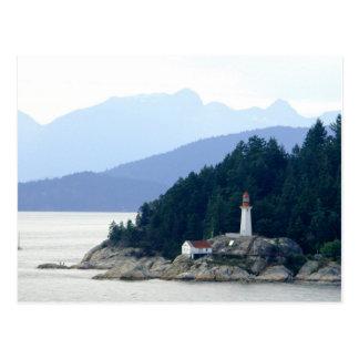 Postal de la foto del faro de Alaska