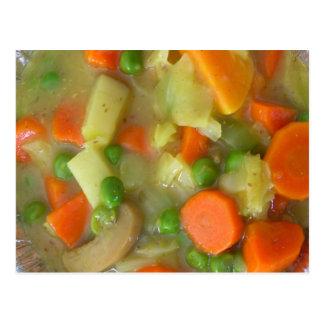 Postal de la fotografía de la sopa de verduras