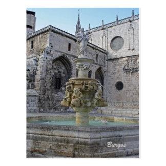 Postal de la fuente de la catedral de Burgos