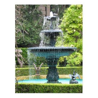 Postal de la fuente del jardín de Charleston