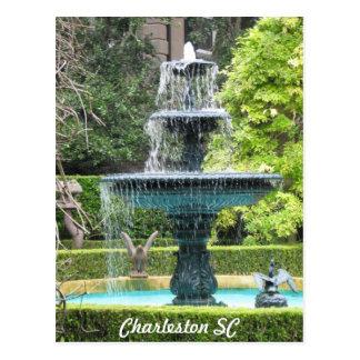 Postal de la fuente del jardín de Charleston Carol