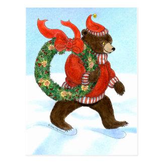 Postal de la guirnalda del navidad del oso de