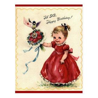 Postal de la hermana del cumpleaños del vintage