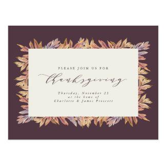Postal Postal de la invitación de la acción de gracias