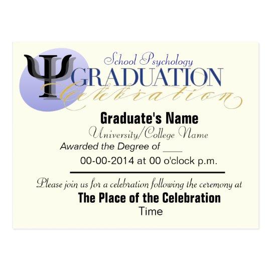 Postal de la invitación de la graduación de la