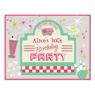 postal de la invitación del fiesta de los años 50