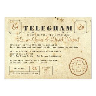 Postal de la invitación del telegrama del vintage