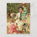 Postal de la mañana de navidad del vintage