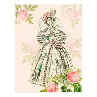 Postal de la moda de la señora del victorian del
