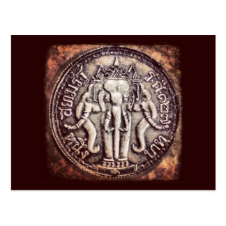 Postal de la moneda del elefante del baht de