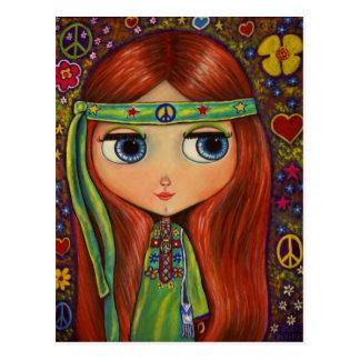 Postal de la muñeca del Hippie de la paz