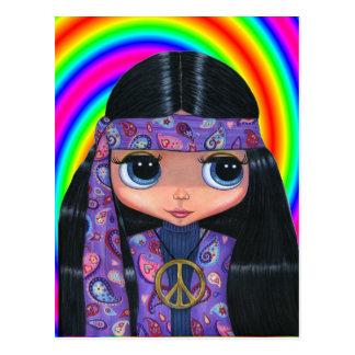 Postal de la muñeca del Hippie de Paisley
