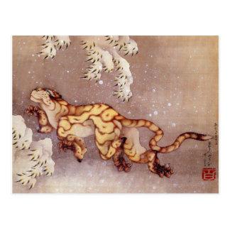 """Postal de la nieve de Hokusai """"tigre en"""""""