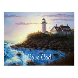 Postal de la pintura de Cape Cod mA del faro de