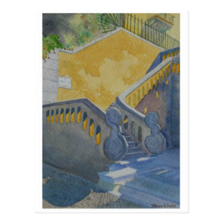 Postal de la pintura de la acuarela, escalera de
