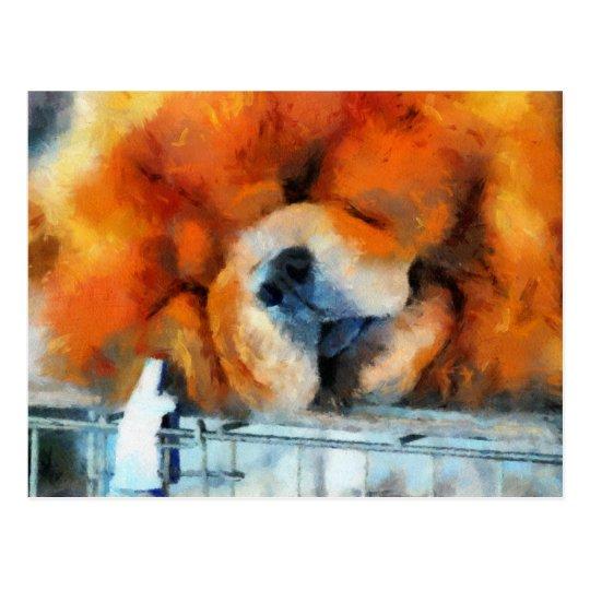 Postal de la pintura del perro chino de perro