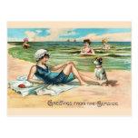 Postal de la playa del Victorian del vintage