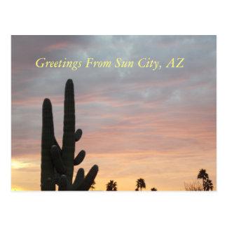 Postal de la puesta del sol 1 de Sun City