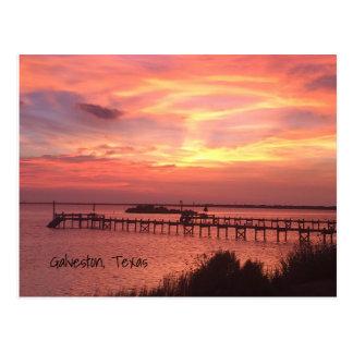 Postal de la puesta del sol de Galveston Tejas