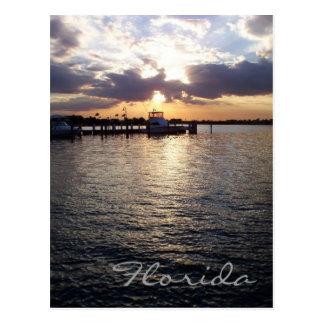 Postal de la puesta del sol de la Florida