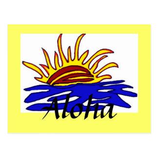 Postal de la puesta del sol de la hawaiana
