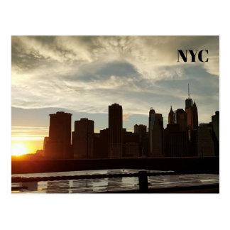 Postal de la puesta del sol de New York City