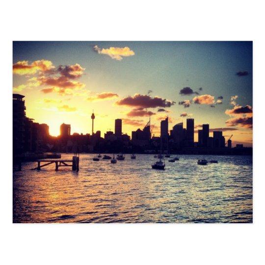 Postal de la puesta del sol de Sydney