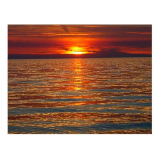 Postal de la puesta del sol del lago Michigan