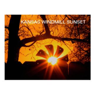 POSTAL de la puesta del sol del molino de viento