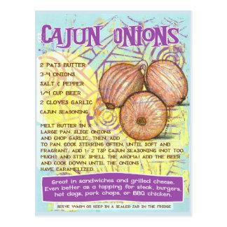Postal de la receta de las cebollas de Cajun