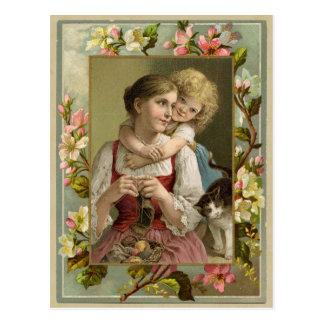 Postal de la reproducción del vintage de la madre