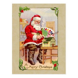 Postal de la reproducción del vintage de Santa del