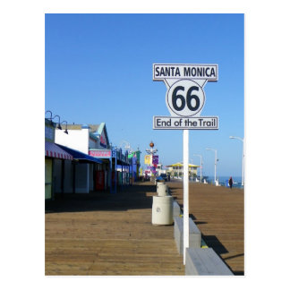 ¡Postal de la ruta 66 de Santa Mónica! Postal
