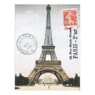 Postal de la torre Eiffel del vintage…