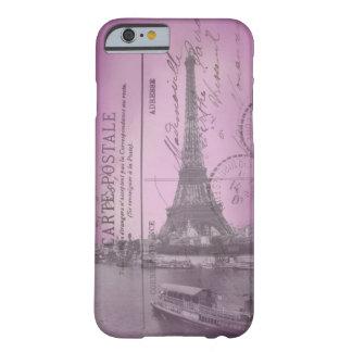 Postal de la torre Eiffel del vintage en iPhone Funda De iPhone 6 Barely There