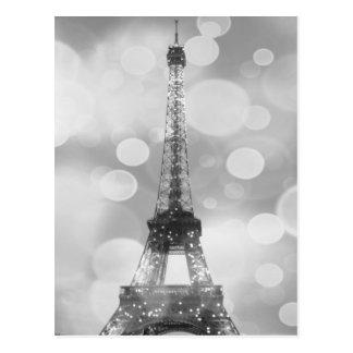 Postal de la torre Eiffel, negro y blanco,
