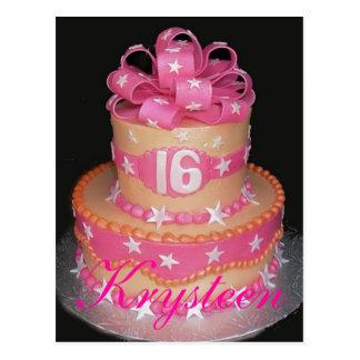 Postal de la torta de cumpleaños décimosexto