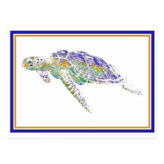 Postal de la tortuga de la natación