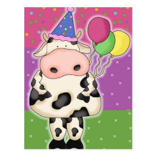 Postal de la vaca del cumpleaños