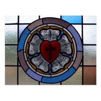 Postal de la ventana color de rosa de Luther -