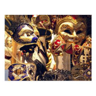 Postal de la ventana de la máscara del carnaval