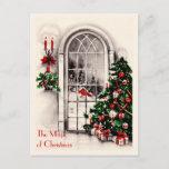 Postal de la ventana del navidad del vintage del