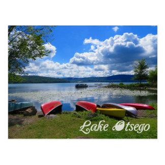 Postal de las canoas de Otsego del lago