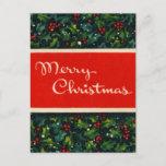 Postal de las Felices Navidad del acebo del