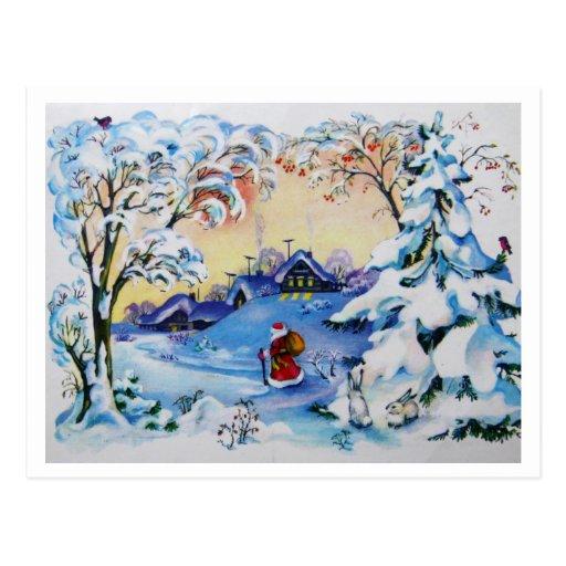 Postal de las Felices Navidad del vintage 1984 de