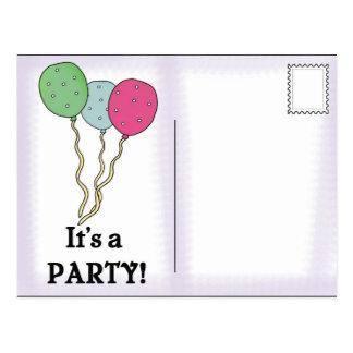 Postal de las invitaciones de la fiesta de