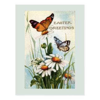 Postal de las mariposas de Pascua del vintage
